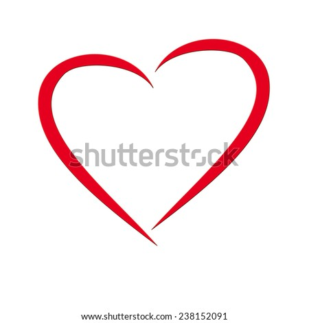 red heart illustration with two single parts, white background - stock photo