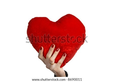 red heart in a woman hand, isolated on white