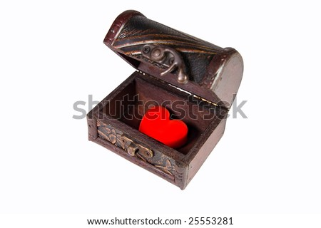 Red heart in an ancient treasury chest (isolated on white) - stock photo