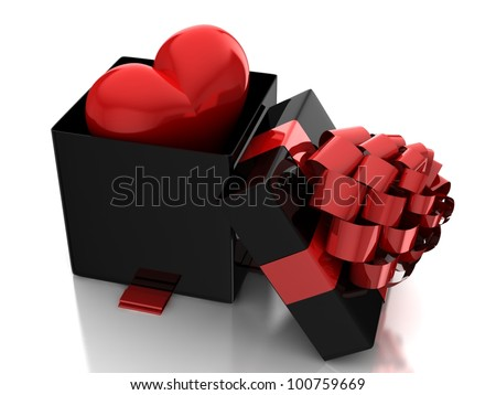 Red heart in gift box - stock photo