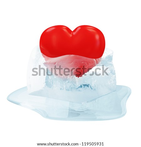Red Heart in Melting Ice Cube isolated on white background - stock photo