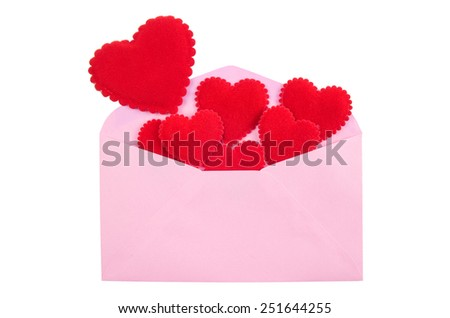 Red Heart in Pink envelope. Valentine theme - stock photo