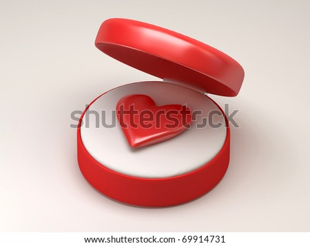 Red heart in red open box