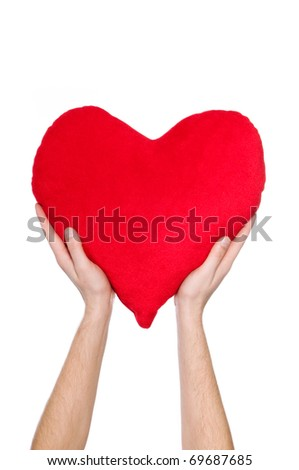 red heart in the hands of a white background