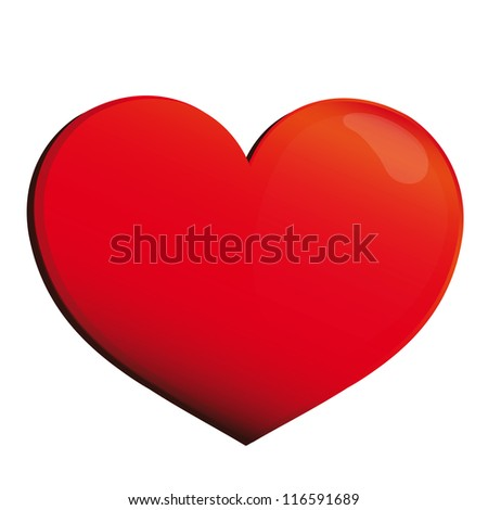 red heart,isolated on white