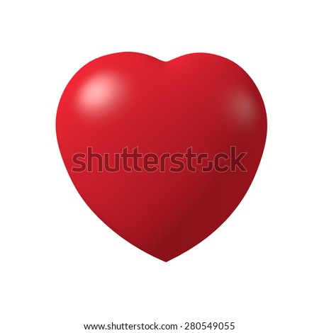 red heart isolated on white background 3d