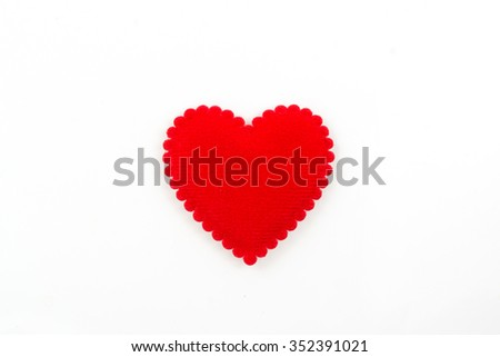 red heart isolated on white background,valentine day concept - stock photo