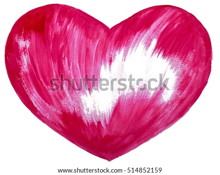Red heart isolated on white background, watercolor painting