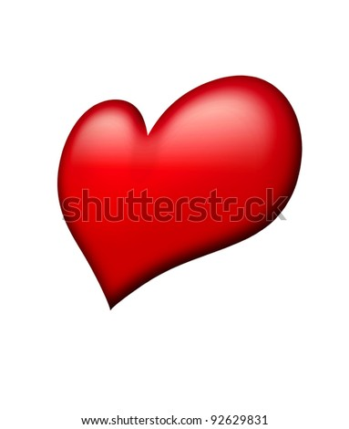 red heart isolated over white background - stock photo