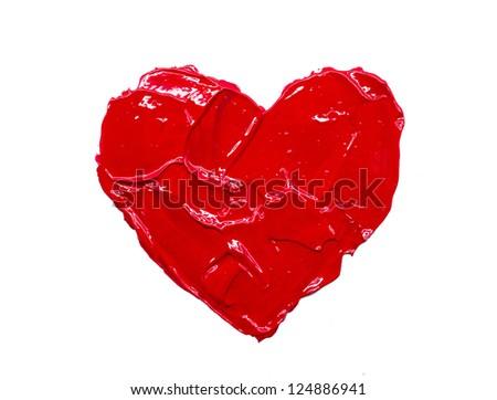 Red heart love. Art oil(acryl) paints. - stock photo