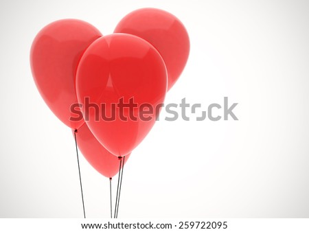Red heart made of four balloons, white background, clipping path - stock photo