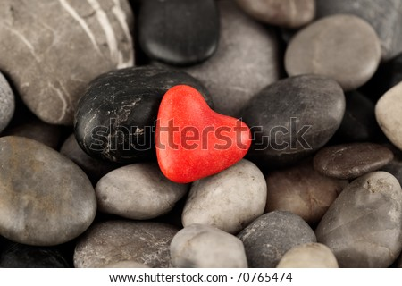 red Heart of Pebbles - stock photo