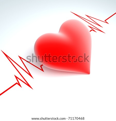 Red heart on a background a cardiogram - stock photo