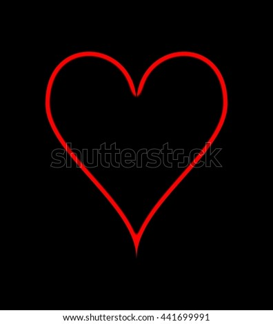 Red heart, on a black background. Illustration.