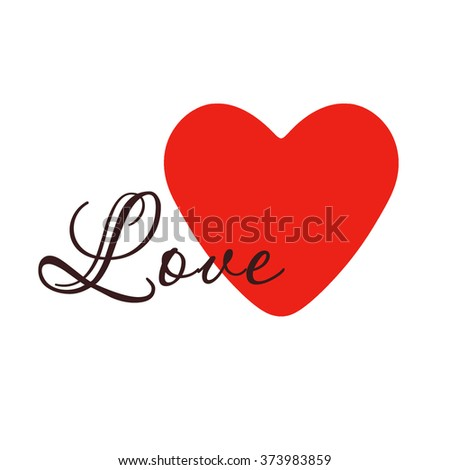 Red heart on a white background, the love and happiness in one symbol. Heart Valentine. Valentine's Day. - stock photo