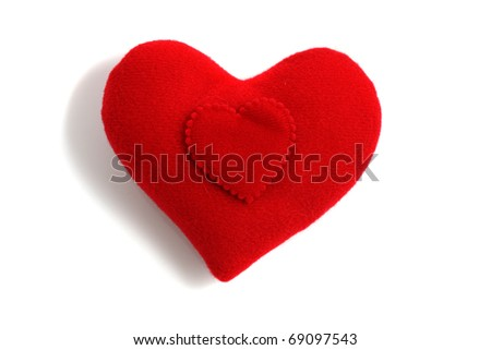 Red heart on big hart shape symbol isolated on white background