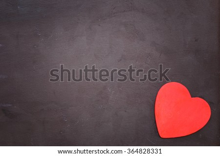 Red heart on black background.Valentine hearts concept. - stock photo