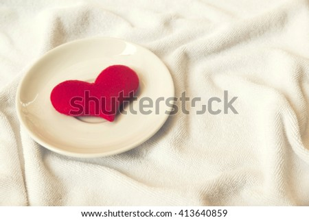 red heart on towel Love background Concept - stock photo