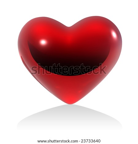 Red heart on white background (isolated).  See more this theme in my portfolio. - stock photo