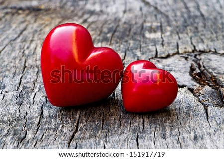 red heart on wood - stock photo