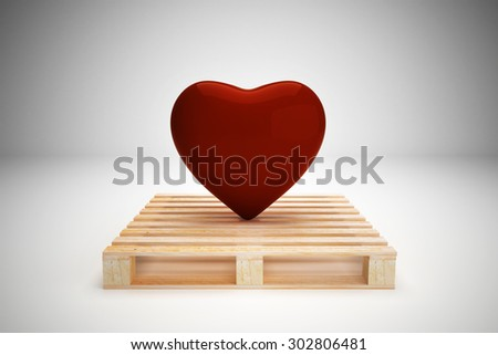 Red heart on wood pallet, transportation concept - stock photo