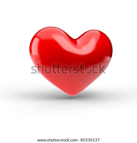 Red heart over white. 3d render illustration - stock photo