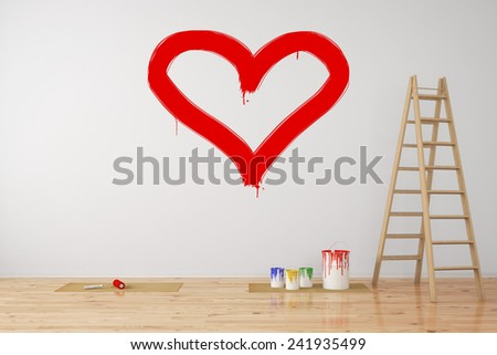 Red heart painted on a wall as symbol for love during renovation (3D Rendering) - stock photo