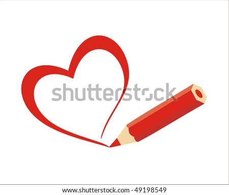 Red Heart painted with a pencil (Vector file)