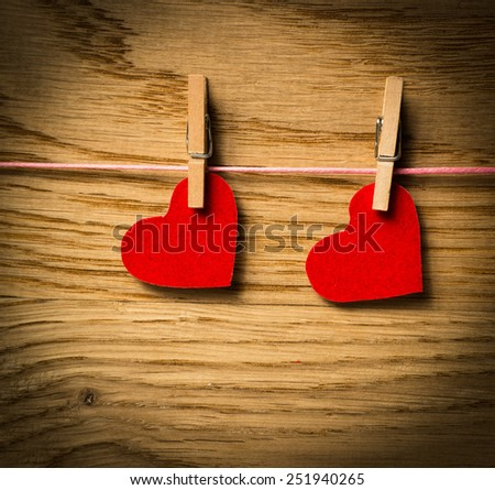 Red heart paper on wooden background.Image of Valentines day - stock photo