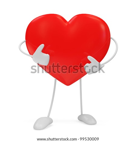 Red Heart Personage isolated on white background - stock photo