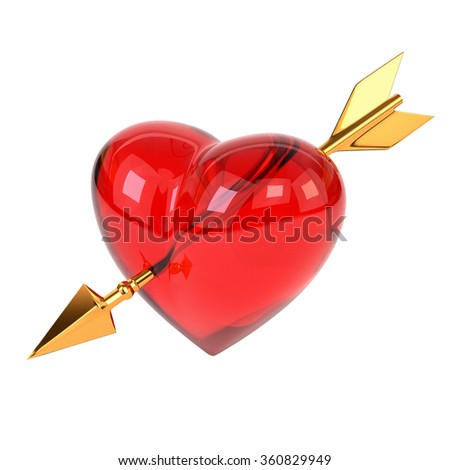 Red heart pierced by a golden arrow isolated on white background. Cupid's arrow. 3d illustration. - stock photo