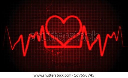 Red heart pulse on the abstract background
