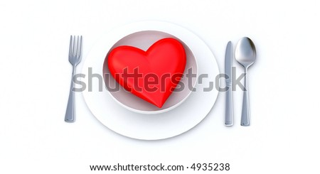 Red heart served on a white plate