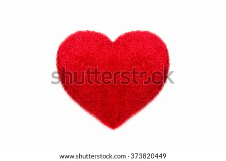 Red Heart shape fluffy pillow. Valentine's Day - stock photo