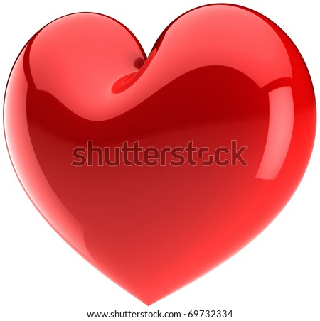 Red heart shape. Love symbol classic. Valentines day icon concept. Friendship glossy design element. This is a detailed render 3d (Hi-res). Isolated on white background - stock photo