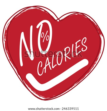 Red Heart Shape No Calories Sticker, Icon or Label Isolated on White Background  - stock photo