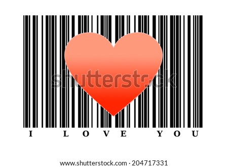 Red heart shape on barcode. Love concept. - stock photo