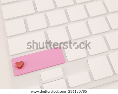 red heart shape on key, 3d render - stock photo