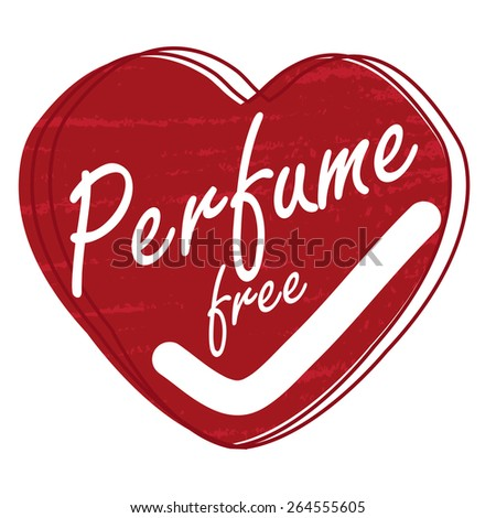 Red Heart Shape Perfume Free Badge, Banner, Sign, Tag, Label, Sticker or Icon Isolated on White Background - stock photo