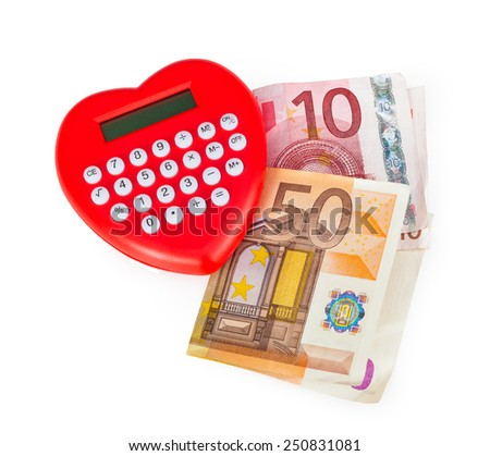 Red heart shaped calculator with euro banknotes isolated on white background. - stock photo