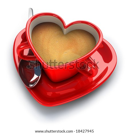 Red heart shaped coffee cup - stock photo