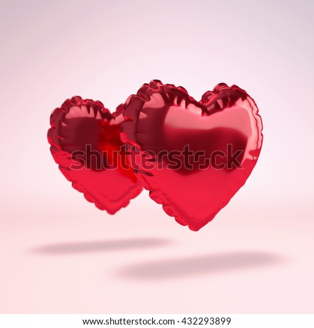 Red Heart shaped foil balloon on white background. 3D Render.