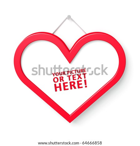 Red heart shaped frame with room for photo or text - stock photo