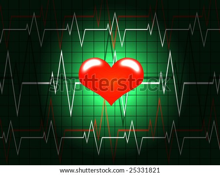Red heart shined on a background of the cardiogram - stock photo