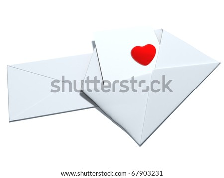 Red heart sign in the envelope isolated on white - stock photo