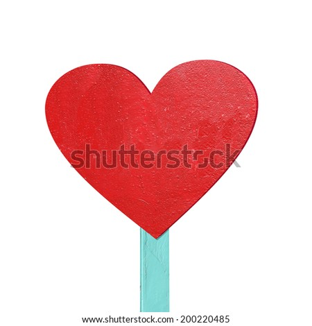 red heart sign isolated on white background - stock photo