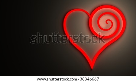 red heart symbol from a neon