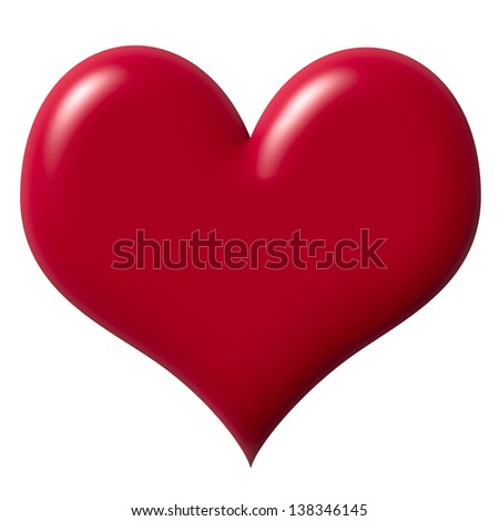 Red heart symbol isolated on white
