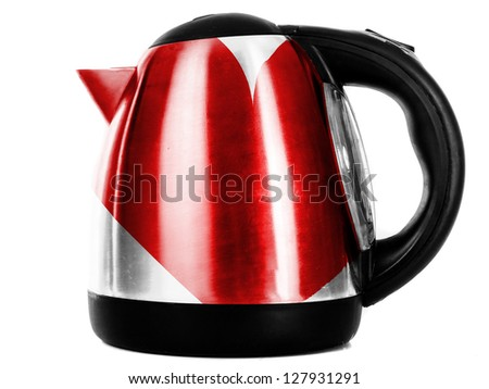 Red Heart symbol   painted on shiny metallic kettle