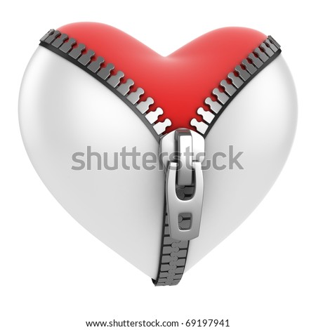 red heart under unzipped white heart 3d concept